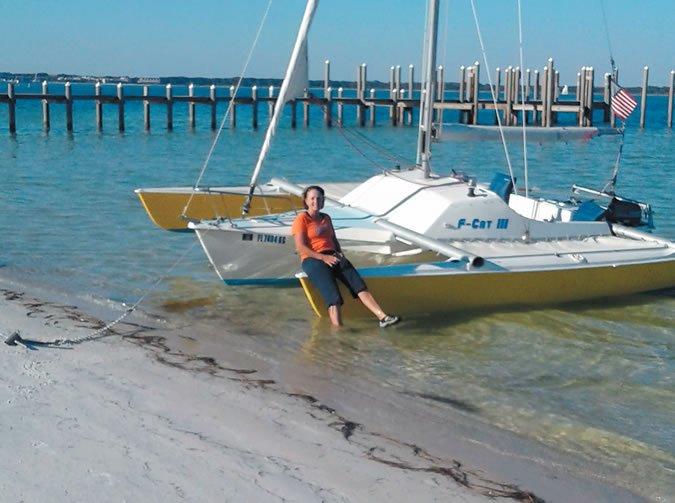 Patricia Holt kicks back at Navarre Beach