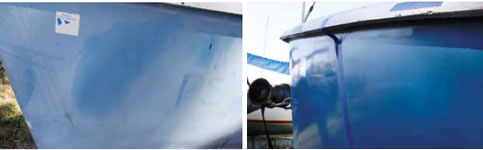 oxidized hull before and after restoration